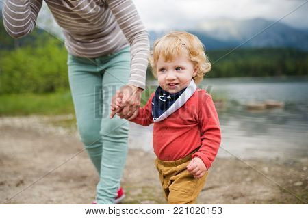 Unrecognizable senior woman with a happy little boy at the lake, summer day.