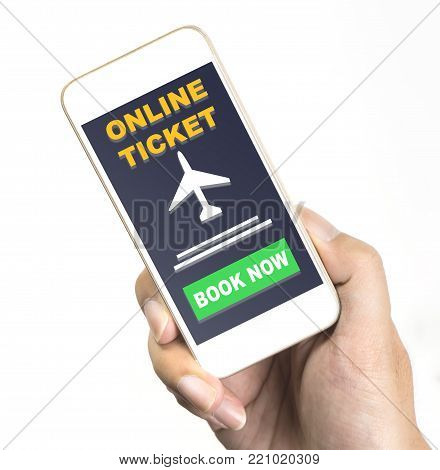 Hand is holding a smartphone with online ticket booking application isolated on white