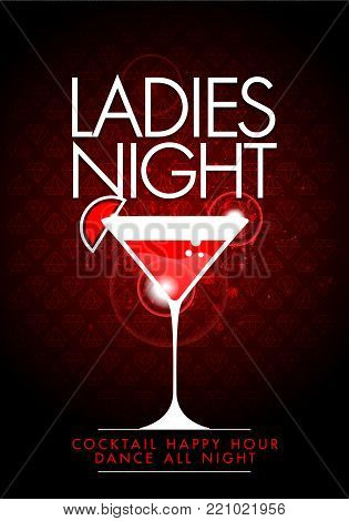 vector illustration red party happy hour dance all night, ladies night flyer design template with cocktail glass