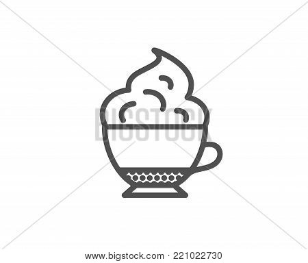 Cappuccino coffee with Whipped cream icon. Hot drink sign. Beverage symbol. Quality design element. Editable stroke. Vector