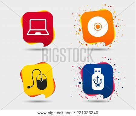 Notebook pc and Usb flash drive stick icons. Computer mouse and CD or DVD sign symbols. Speech bubbles or chat symbols. Colored elements. Vector