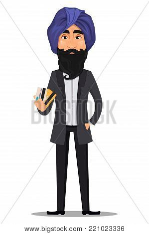 Indian business man cartoon character. Young handsome businessman in business suit and turban holding credit cards - stock vector