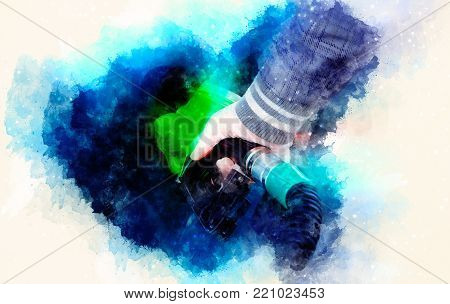 man pumping gasoline fuel in car at gas station and softly blurred watercolor background