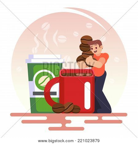 Coffee Addiction Concept Element. Business Man Need More Coffee, Vector Colorful Illustration In Fla