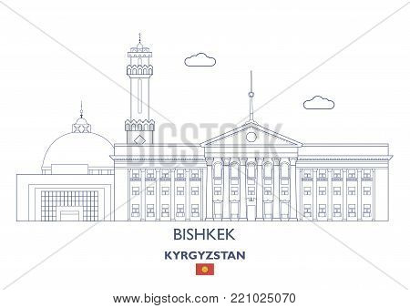 Bishkek Linear City Skyline, Kyrgyzstan. Famous city places