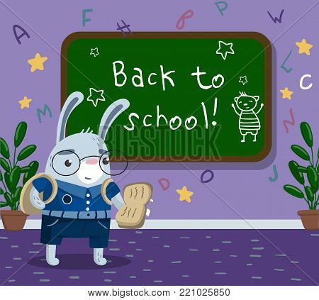 Cute funny little rabbit animal student in school uniform standing next to blackboard in the calssroom, back to school concept vector Illustration, cartoon style