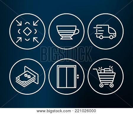 Set of Lift, Mocha and Truck delivery icons. Minimize, Atm money and Shopping cart signs. Elevator, Coffee cup, Express service. Small screen, Dollar currency, Gifts.  Editable stroke. Vector