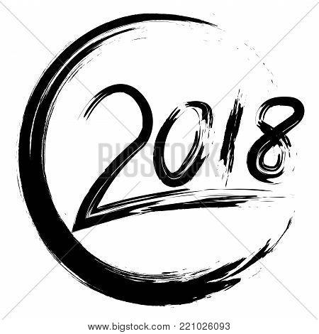 isolated black 2018 circle piant brush on white background