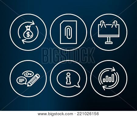 Set of Information, Attachment and Road banner icons. Keywords, Money exchange and Update data signs. Info center, Attach document, Advertisement. Pencil with key, Cash in bag, Sales chart. Vector