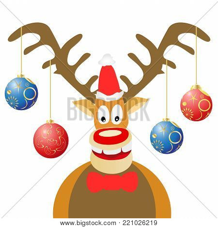 isolated cartoon Christmas deer with Christmas balls on white background