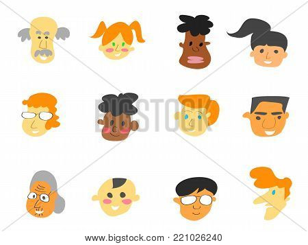isolated color cartoon people face icons set on white background