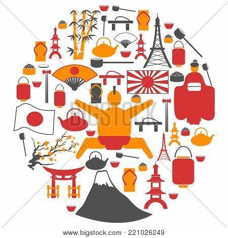 isolated Japanese collage circle symbol icons on white background