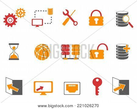 isolated orange and red color database technology icons set on white background