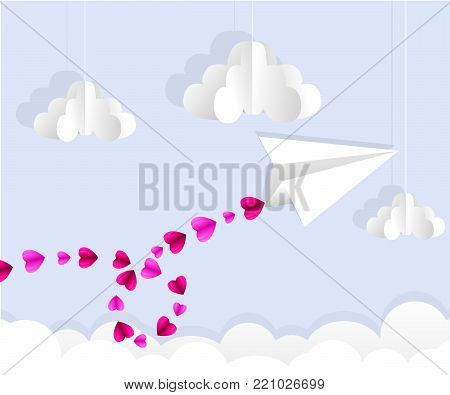 Origami paper plane. Heart trail line in the sky. Love card. Vector illustration