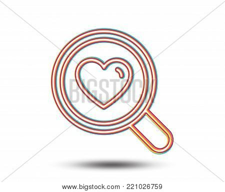 Love dating line icon. Search relationships sign. Valentines day symbol. Colourful graphic design. Vector