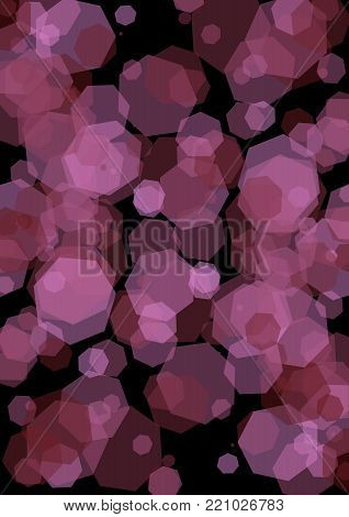 Hexagonal semitransparent purple shapes overlapping on black background. Modern abstract vector background. vector EPS 10