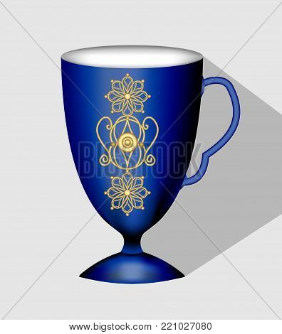 Antiquarian dark blue coffee cup with rich golden filigree patterns in victorian style. Nostalgic porcelain isolated 3d cup on light gray background with long shadow, Vector EPS 10