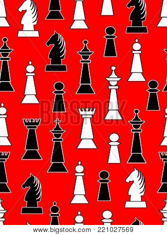 Seamless background with black and white chess pieces on light red background. Uneven distributed horse, king, queen, bishop and knight, Vector EPS 10