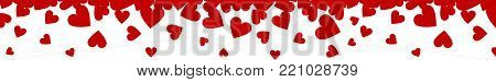 Valentines Day horizontal web banner with hearts border