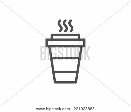 Takeaway Coffee cup line icon. Hot drink sign. Takeout symbol. Quality design element. Editable stroke. Vector