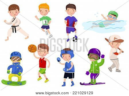 Boys exercising and playing different sports, kids doing sports cartoon vector Illustrations on a white background
