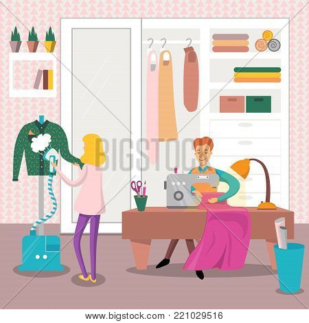 Male dressmaker sewing clothes by sewing machine, woman ironing clothing with steam iron vector illustration, colorful design element for poster or banner.