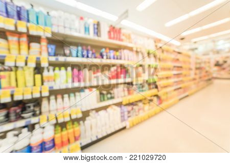 Blurred Hair Care, Skin Care And Cosmetic At Pharmacy Store
