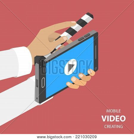 Mobile video creating flat isometric vector concept. Smartphone that looks like a clapperboard is used for shooting some scene.