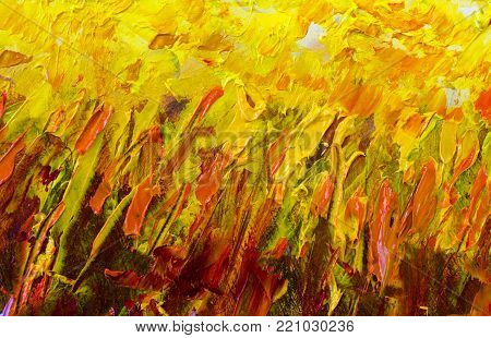 yellow orange red fire texture abstract painting fragment vector illustration. palette knife marks. Oil on canvas texture canvas art. abstract background. Close-up view