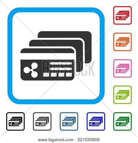 Ripple Banking Cards icon. Flat grey iconic symbol inside a blue rounded square. Black, gray, green, blue, red, orange color additional versions of Ripple Banking Cards vector.
