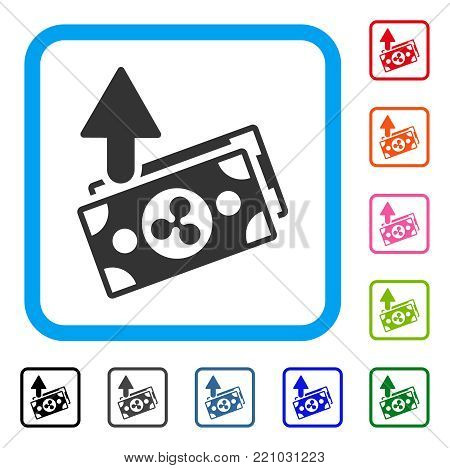 Ripple Expences Banknotes icon. Flat gray pictogram symbol in a blue rounded square. Black, gray, green, blue, red, orange color versions of Ripple Expences Banknotes vector.