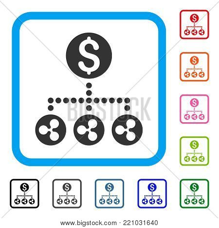 Ripple Money Relations icon. Flat grey pictogram symbol in a blue rounded square. Black, gray, green, blue, red, orange color versions of Ripple Money Relations vector.
