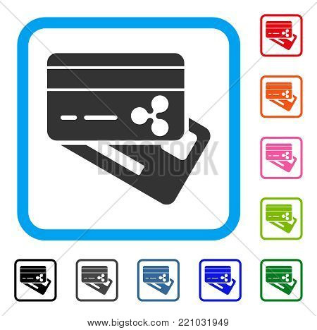 Ripple Banking Cards icon. Flat grey iconic symbol in a blue rounded frame. Black, gray, green, blue, red, orange color additional versions of Ripple Banking Cards vector.