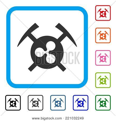 Ripple Mining Hammers icon. Flat grey pictogram symbol in a blue rounded frame. Black, gray, green, blue, red, orange color versions of Ripple Mining Hammers vector.