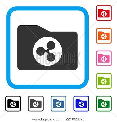 Ripple Purse icon. Flat grey pictogram symbol inside a blue rounded square. Black, gray, green, blue, red, orange color additional versions of Ripple Purse vector. Designed for web and application UI.