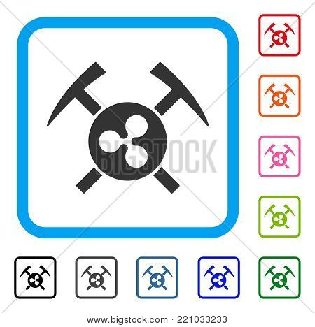 Ripple Mining Hammers icon. Flat grey pictogram symbol inside a blue rounded frame. Black, gray, green, blue, red, orange color versions of Ripple Mining Hammers vector.