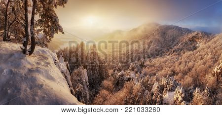 Beautiful winter panorama landscape with snow covered trees, Slovakia mountain