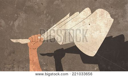 Illustration of Hand Holding White Flag of Surrender Painted on Concrete Wall with Shadow