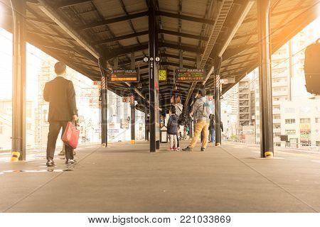 OSAKA, JAPAN - Oct 24, 2017: The train services to Universal studios Japan. There are many tourists to visit Universal Studios Japan famous amusement park, Osaka city.