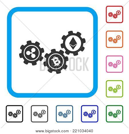 Cryptocurrency Conversion Gears icon. Flat gray pictogram symbol inside a blue rounded rectangle. Black, gray, green, blue, red, orange color versions of Cryptocurrency Conversion Gears vector.