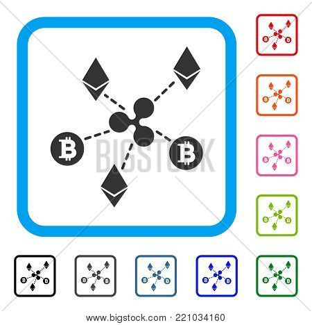 Cryptocurrency Relations icon. Flat gray pictogram symbol in a blue rounded rectangle. Black, gray, green, blue, red, orange color additional versions of Cryptocurrency Relations vector.