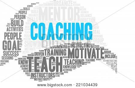 Coaching word cloud on a white background.