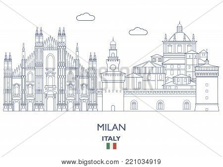 Milan Linear City Skyline, Italy. Famous city places