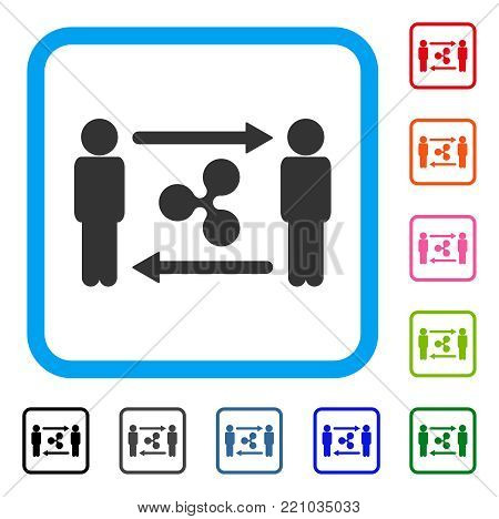 People Exchange Ripple icon. Flat gray pictogram symbol inside a blue rounded rectangle. Black, gray, green, blue, red, orange color versions of People Exchange Ripple vector.