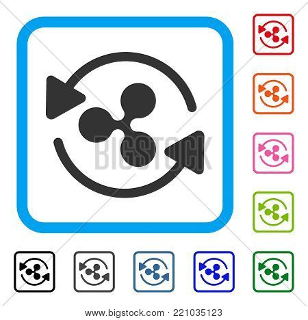 Refresh Ripple icon. Flat grey iconic symbol inside a blue rounded square. Black, gray, green, blue, red, orange color versions of Refresh Ripple vector. Designed for web and app interfaces.