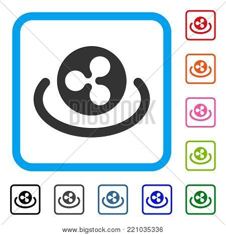 Ripple Area icon. Flat grey iconic symbol in a blue rounded rectangular frame. Black, gray, green, blue, red, orange color versions of Ripple Area vector. Designed for web and app user interface.