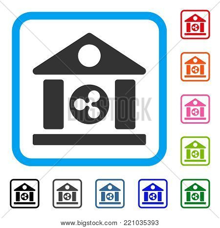 Ripple Bank Building icon. Flat gray pictogram symbol in a blue rounded frame. Black, gray, green, blue, red, orange color variants of Ripple Bank Building vector. Designed for web and app UI.