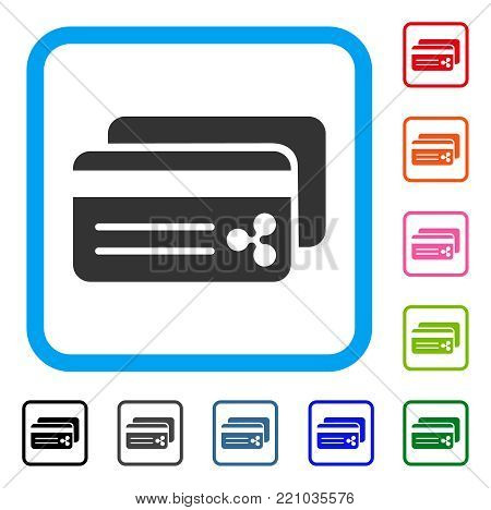 Ripple Bank Cards icon. Flat grey pictogram symbol inside a blue rounded squared frame. Black, gray, green, blue, red, orange color variants of Ripple Bank Cards vector.