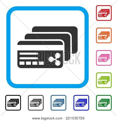 Ripple Banking Cards icon. Flat gray pictogram symbol inside a blue rounded rectangular frame. Black, gray, green, blue, red, orange color additional versions of Ripple Banking Cards vector.
