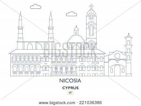 Nicosia Linear City Skyline, Cyprus. Famous city places